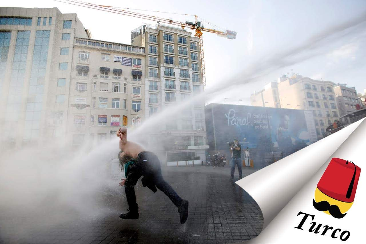Watch Turkish People Getting Hit By Water Cannons